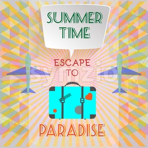 Abstract summer time infographic, with escape to paradise text, planes and travel accessories. Digital vector image Stock Vector