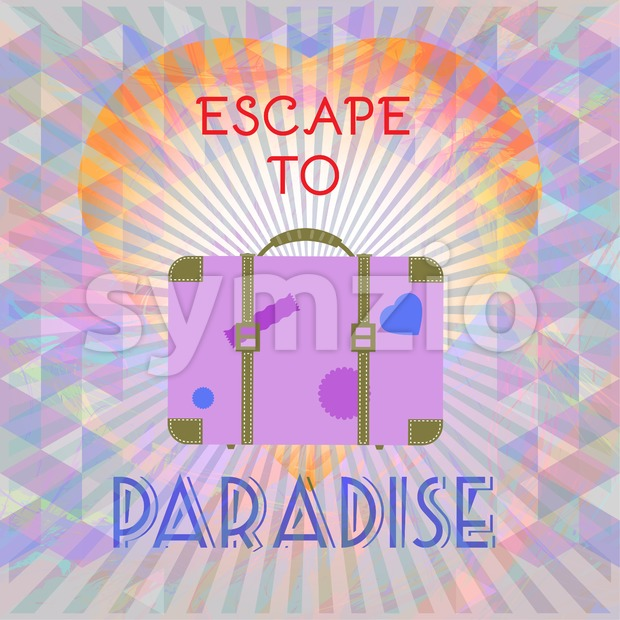 Abstract summer time infographic, escape to paradise text, a big heart and suitcase, Digital vector image Stock Vector