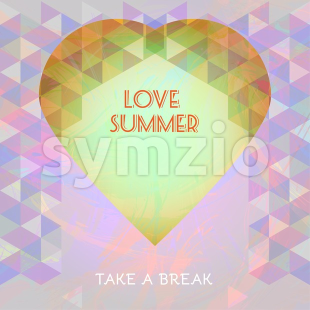 Abstract summer time infographic, love and take a break text, a big heart. Digital vector image Stock Vector