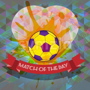 Abstract football and soccer infographic, match of the day text, a playing ball and heart. Digital vector image Stock Vector