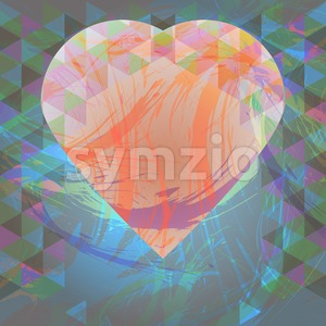 Abstract design with big heart and colored triangles. Digital vector image Stock Vector