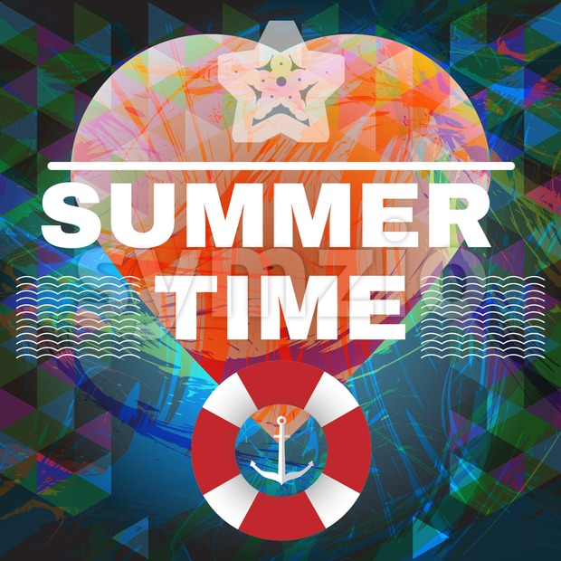 Abstract summer time infographic, waves, life buoy and a big heart. Digital vector image Stock Vector
