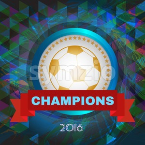 Abstract football and soccer infographic, champions 2016, a playing ball and red ribbon. Digital vector image Stock Vector