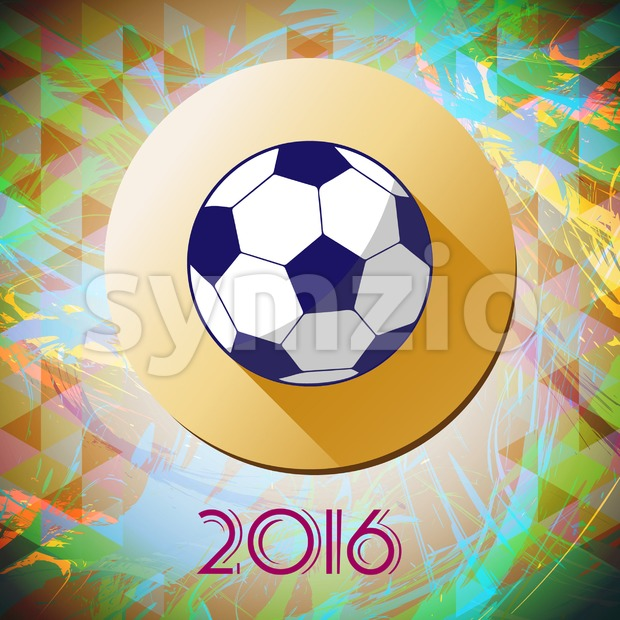 Abstract football and soccer infographic, champions 2016, a playing ball and yellow circle. Digital vector image Stock Vector