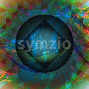 Abstract design with big circle, square and colored triangles. Digital vector image Stock Vector