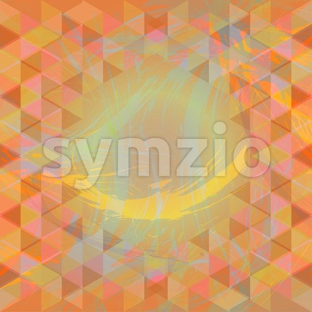 Abstract design with brush strokes and colored triangles. Digital vector image Stock Vector