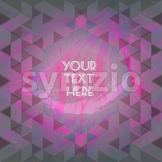 Abstract purple design with your text here and colored triangles. Digital vector image Stock Vector