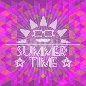 Abstract purple summer time infographic, a big sun with glasses and smile, Digital vector image Stock Vector