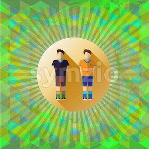 Abstract green design with two football and soccer players and colored triangles. Digital vector image Stock Vector