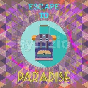 Abstract summer time infographic, escape to paradise text, a big baggage. Digital vector image Stock Vector