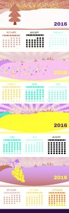 2016 Calendar, with seasonal design. Winter, spring, summer and fall themes. Digital vector image Stock Vector