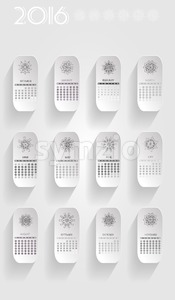 2016 Seasonal calendar, with abstract floral design on silver background. Digital vector image Stock Vector