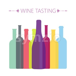 Wine tasting card, with colored bottles over a white background. Digital vector image. Stock Vector