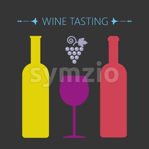 Wine tasting card, two yellow and red bottles over a silver background with grape sign and a purple glass. Digital vector image. Stock Vector