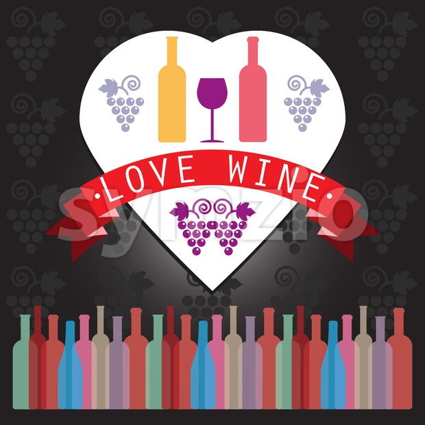 Wine tasting card, two yellow and red bottles in a heart frame over a silver background with grape sign and ...