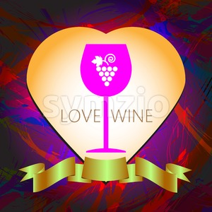 Wine tasting and love card, a pink glass with grape sign in a heart frame over a colored background with water color. Digital vector image. Stock Vector
