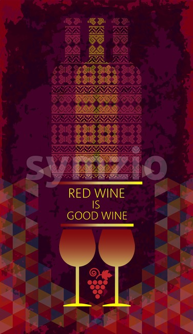 Red wine tasting and love card, two glasses with grape sign and bottles over a colored background with water color. Digital vector image. Stock Vector