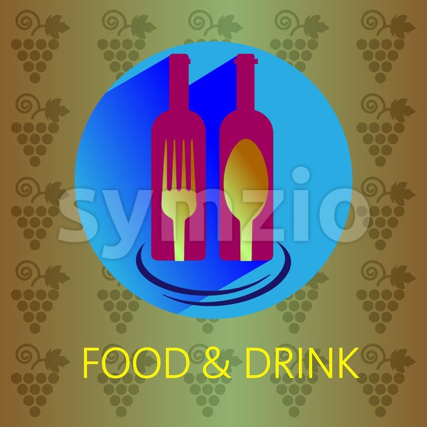 Food and drink with red wine card, two bottles with fork and spoon signs over a background with grapes. Digital vector image. Stock Vector