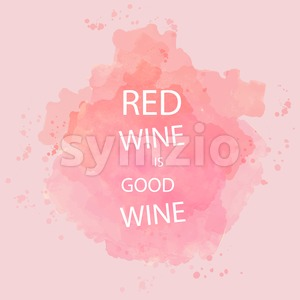 Red wine tasting card with text, over a background with water color. Digital vector image. Stock Vector