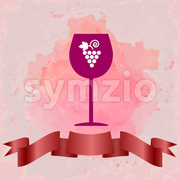 Red wine tasting card with a red glass and grape sign, over a background with water color. Digital vector image. Stock Vector