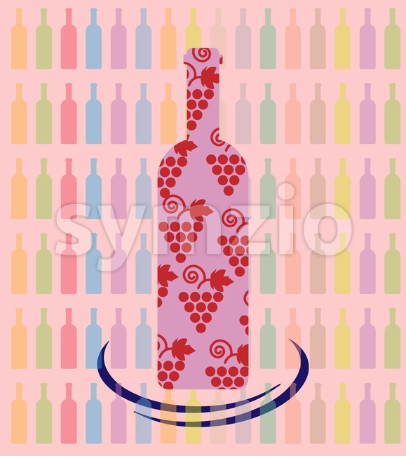 Wine tasting card, a bottle with grape sign over a background with pattern of colored bottles. Digital vector image. Stock Vector
