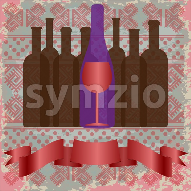 Wine tasting card, bottles and a red glass over a background with pattern. Digital vector image. Stock Vector