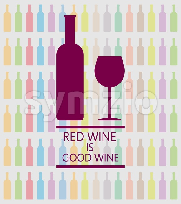 Red wine is good tasting card, a bottle with glass over a white background with inscription and colored bottles. Digital vector image. Stock Vector