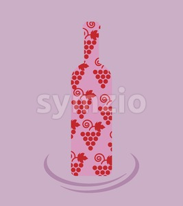 Wine tasting card, a bottle with grape sign over a light purple background. Digital vector image. Stock Vector