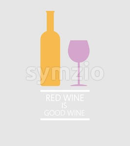 Red wine tasting card, a bottle with glass over a silver background with inscription. Digital vector image. Stock Vector