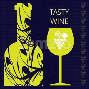 Tasty wine card, a bottle with glass and grape sign over a dark silver background with inscription. Digital vector image. Stock Vector