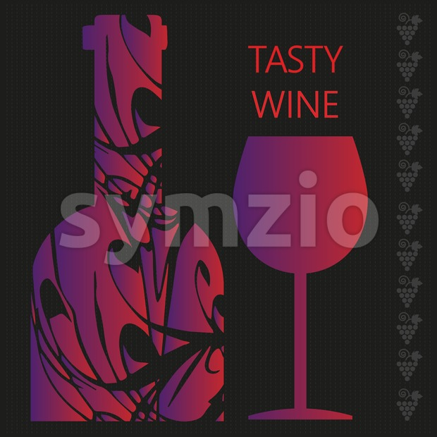 Red wine tasting card, a bottle with glass over a dark silver background with inscription. Digital vector image.