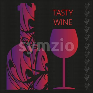 Red wine tasting card, a bottle with glass over a dark silver background with inscription. Digital vector image. Stock Vector