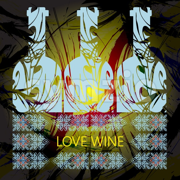 Love wine and tasting card, three light blue bottles over water colored background. Digital vector image.