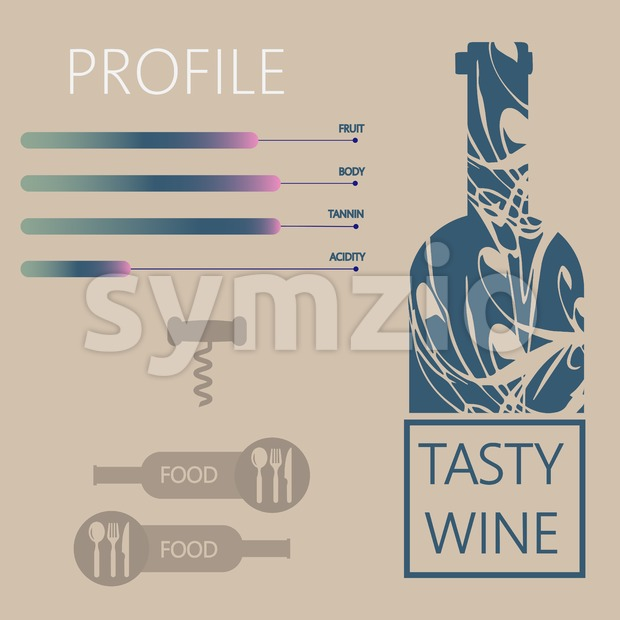 Tasty wine and food restaurant info graphic with components, bottle, spoon, knife and fork signs in outlines over light brown background. Digital Stock Vector