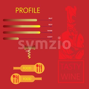 Tasty wine and food restaurant info graphic with components, bottle, spoon, knife and fork signs in outlines over red background. Digital vector Stock Vector