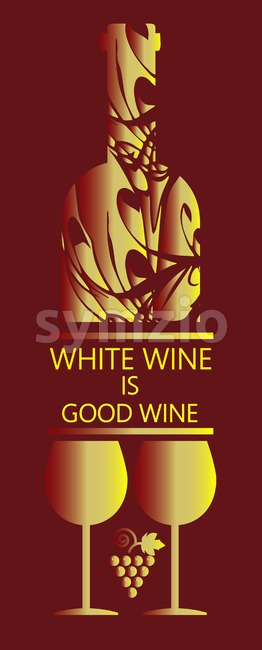 White wine card, bottle and two glasses with grape signs in outlines over dark background. Digital vector image. Stock Vector