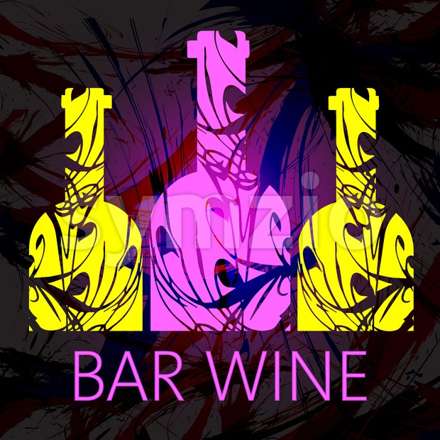 Bar wine and tasting card, three pink and yellow bottles over dark water color background. Digital vector image. Stock Vector