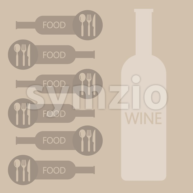 Wine and food restaurant info graphic, bottle, spoon, knife and fork in outlines over light brown background. Digital vector image. Stock Vector