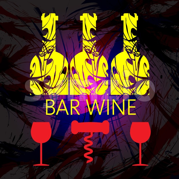 White wine and tasting card, yellow bottles with red glass and corkscrew over dark water color background. Digital vector image.