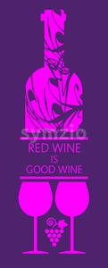 Red wine and tasting card, bottle with two glass and grape sign over purple background. Digital vector image. Stock Vector