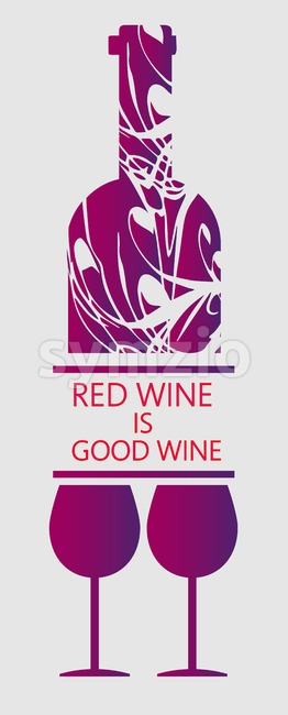 Love red wine and tasting card, bottle with two glasses over white background. Digital vector image.