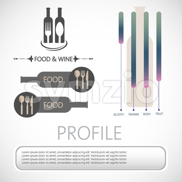 Wine info graphic, restaurant bottles, spoon and fork in outlines with components description over silver background. Digital vector image. Stock Vector