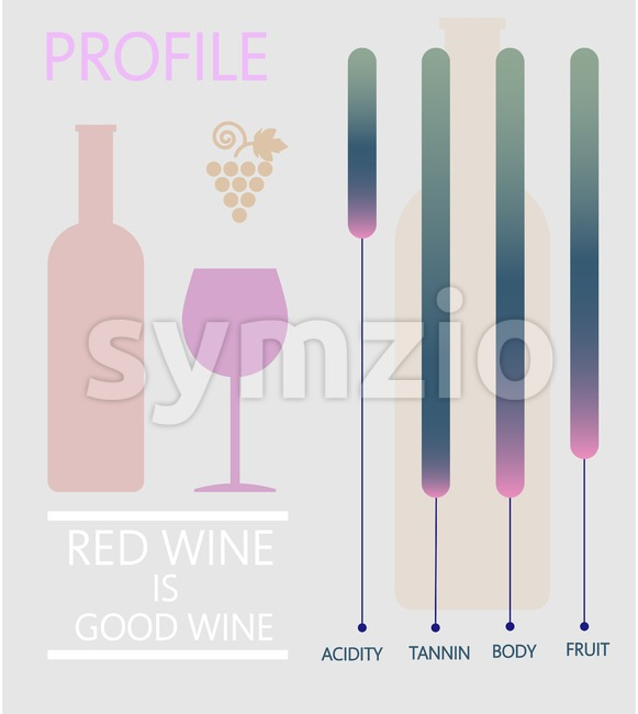 Wine info graphic, bottle and glass with components description over silver background. Digital vector image. Stock Vector