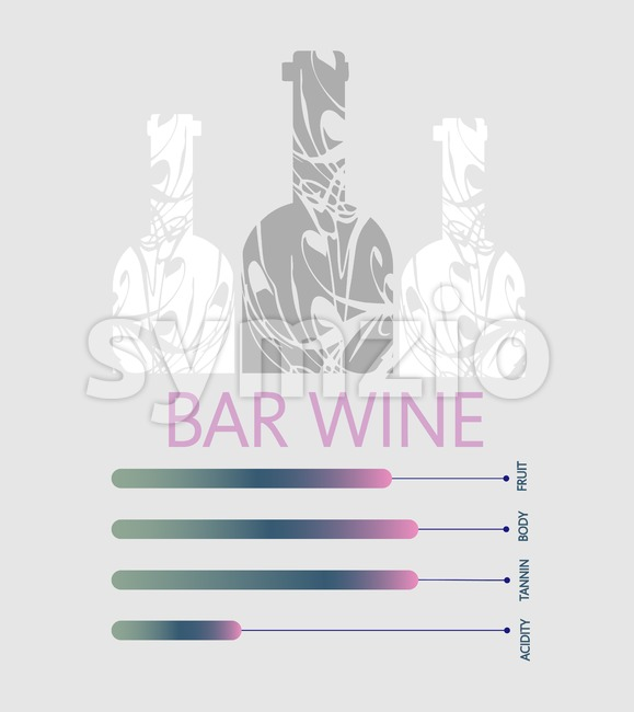 Bar wine info graphic, white bottles with components description over silver background. Digital vector image. Stock Vector
