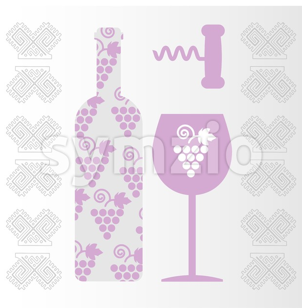 Red wine and tasting card, bottle with glass and corkscrew over white background. Digital vector image. Stock Vector