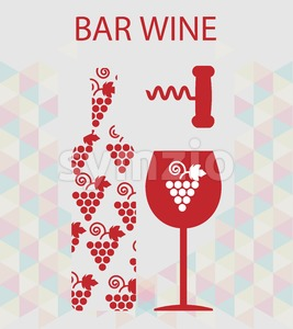 Red wine and tasting card, bottle with glass and corkscrew over silver background. Digital vector image. Stock Vector