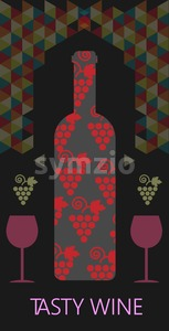 Wine tasting card, bottle with red grape sign, over black background with colored pattern. Digital vector image. Stock Vector
