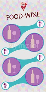 Food and wine info graphic, bottle and glass with spoon, fork and knife over silver background. Digital vector image. Stock Vector