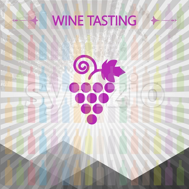 Wine tasting card, big grape sign over colored bottles background with lines. Digital vector image. Stock Vector