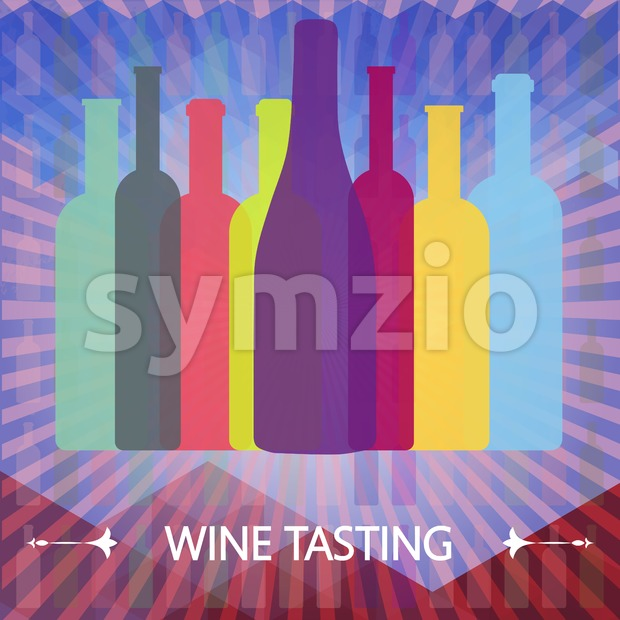 Wine tasting card, colored bottles over water color background with lines. Digital vector image.